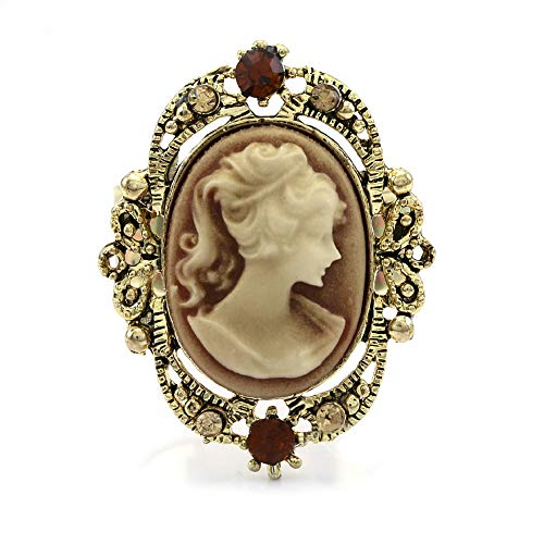 Soulbreezecollection Light Brown Cameo Ring Adjustable Size Band Women Lady Fashion Jewelry