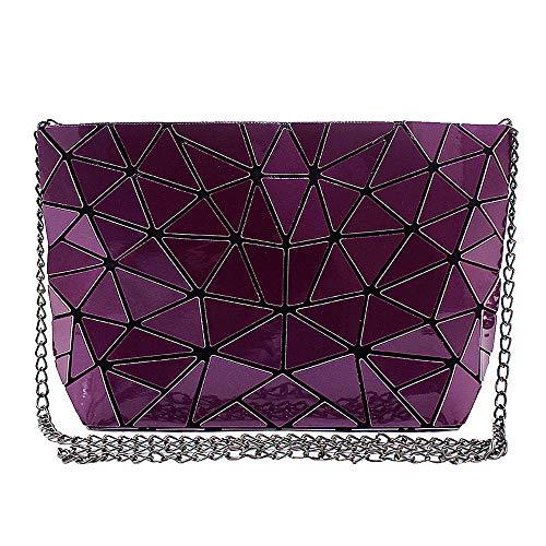 ZLMBAGUS Fashion Hologram Laser Envelope Clutch Geometric Pattern PU Tote Handbag Metal Chain Shoulder Crossbody Bag Purple ()