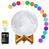 Moon Lamp, LOGROTATE 3D Print LED 16 Colors RGB Decorative Night Lights Moon Light Lamps with Remote&Touch Control & Adjustable Brightness&USB Recharge for Birthday/Lover/Kids/Friends Gifts(7 inch)