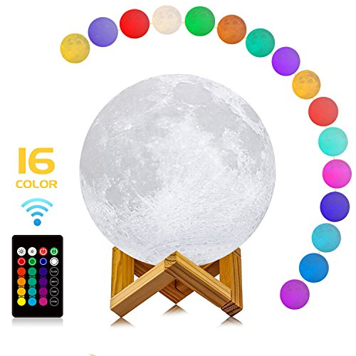 Moon Lamp, LOGROTATE 3D Print LED 16 Colors RGB Decorative Night Lights Moon Light Lamps with Remote&Touch Control & Adjustable Brightness&USB Recharge for Birthday/Lover/Kids/Friends Gifts(7 inch) by LOGROTATE