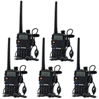 5-Pack BaoFeng UV-5R UHF VHF Dual-Band Two-Way Radio with Earpiece + 1 Programming Cable