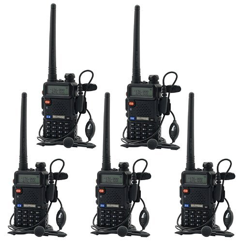 BaoFeng UV-5R UHF VHF Dual Band Two Way Radio Walkie Talkie with 5 Earpieces + 1 Programming Cable, 5 Pack -