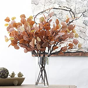 """Crt Gucy 24"""" Artificial Eucalyptus Sprays Leaves Fake Long Silver Dollar Sprays Leave Garland for Wedding Party Home Decor 2PCS, Autumn Red 13"""