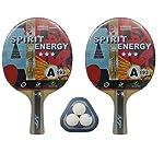 Kounga-Unisex-Giant-Dragon-2-x-Spirit-energia-3-Stelle-3-Set-da-Ping-Pong-2-Racchette-e-3-Palline-RossoNero-Taglia-Unica