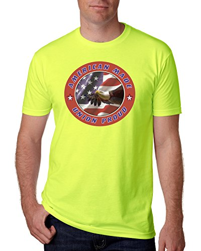 Union Proud Eagle Safety Green High Visibility Short Sleeve Construction Biker T Shirt Hi Vis