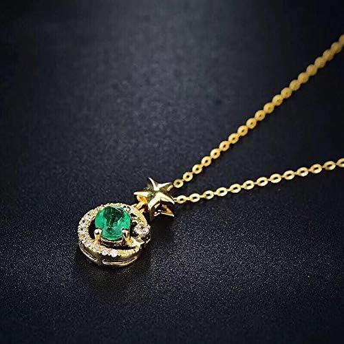 TFTHG Joyas de Esmeralda Vintage Pendientes de Corte Esmeralda Natural Pendientes Colgantes Collar Colgante de Plata Esmeralda Regalos