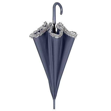 Paraguas Automatico Mujer - Paraguas Clásico con Volantes Grises con Lunares Blancos - Resistente y Antiviento - 102 cm de diámetro - Perletti Time - Azul: ...