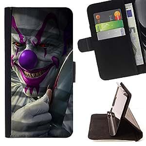 - Clown Evil Smile Devil Red Eyes Creepy - - Prima caja de la PU billetera de cuero con ranuras para tarjetas, efectivo desmontable correa para l Funny HouseFOR Samsung Galaxy S4 IV I9500