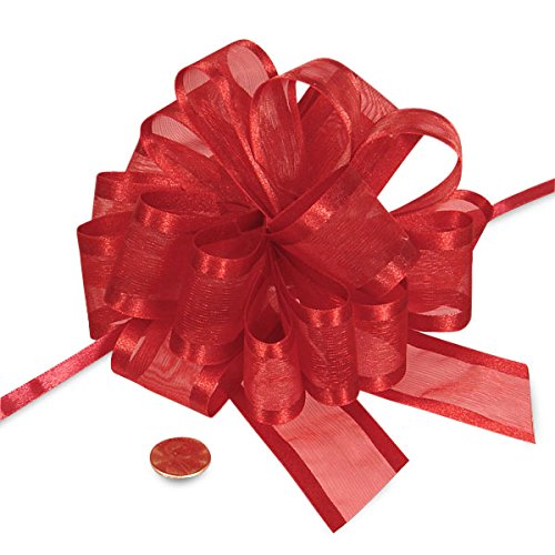 Satin Edge Pull Bow - Red Sheer Pull Bow with Satin Edges 4