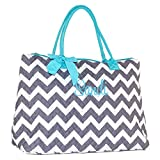 Personalized Quilted Chevron Chevron with Aqua Trim Tote Bag