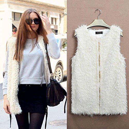 FEITONG mujeres del chaleco del estilo del medio de prendas de vestir exteriores capa sin mangas chaleco de la chaqueta de pelo Blanco