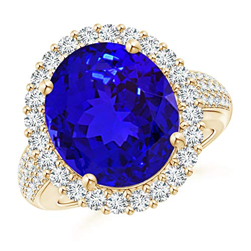 (Oval Tanzanite Cocktail Ring with Diamonds in 14K Yellow Gold (14x12mm Tanzanite))