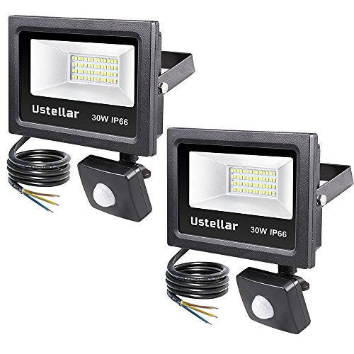 Ustellar 2 Pack 30W Motion Sensor LED Security Light, 2400lm,Outdoor Super Bright Flood Lights, IP66 Waterproof PIR Floodlight Landscape Wall Lights, 5000K Daylight White