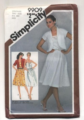 Vintage 1981 Simplicity Sundress and Bolero Jacket Sewing Pattern #9909