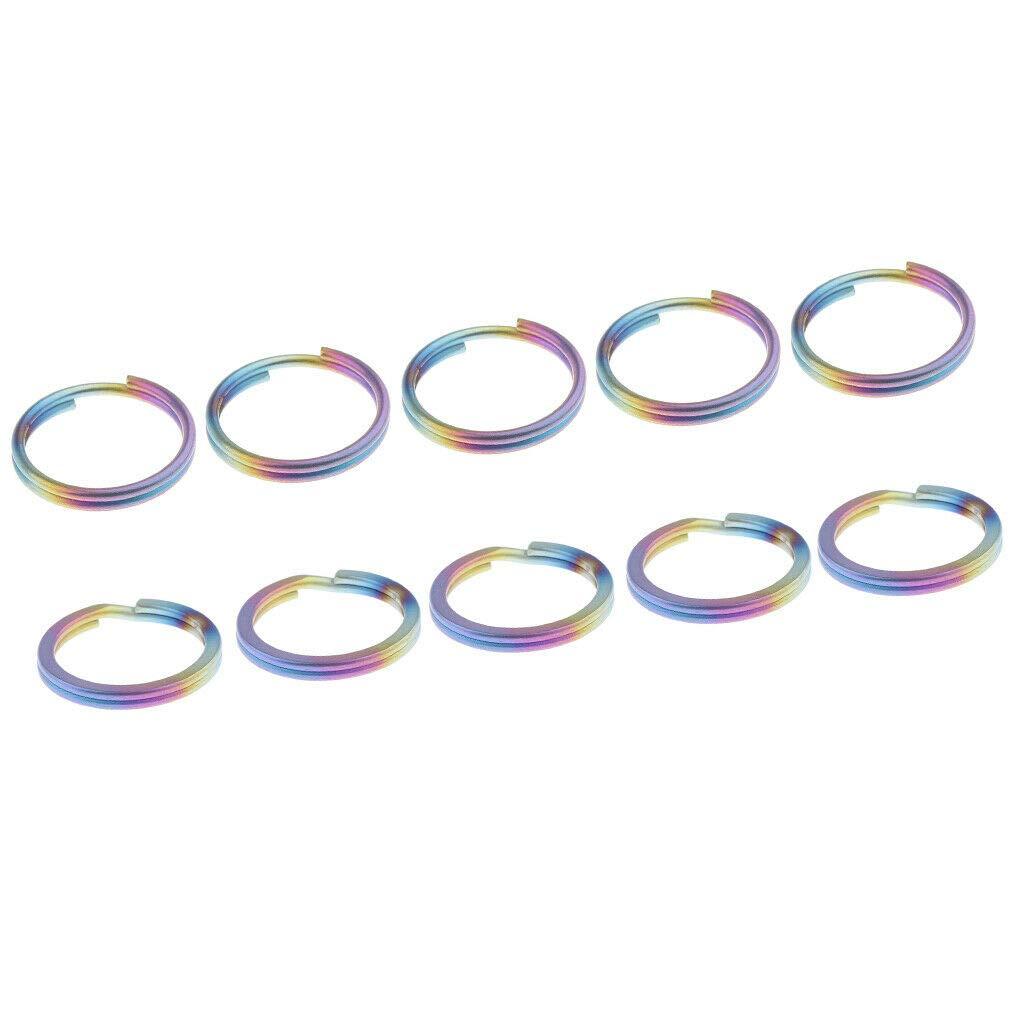 10pcs Titanium Key Ring Tool Mini Split Keychain Circle Clip Colorful