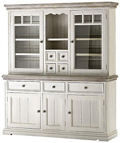 Robas Lund FW608T13 Opus Vitrine, Kiefer weiß / white sanded, 5 Türen / 7 Schubkästen, circa 169 x 200 x 47 cm