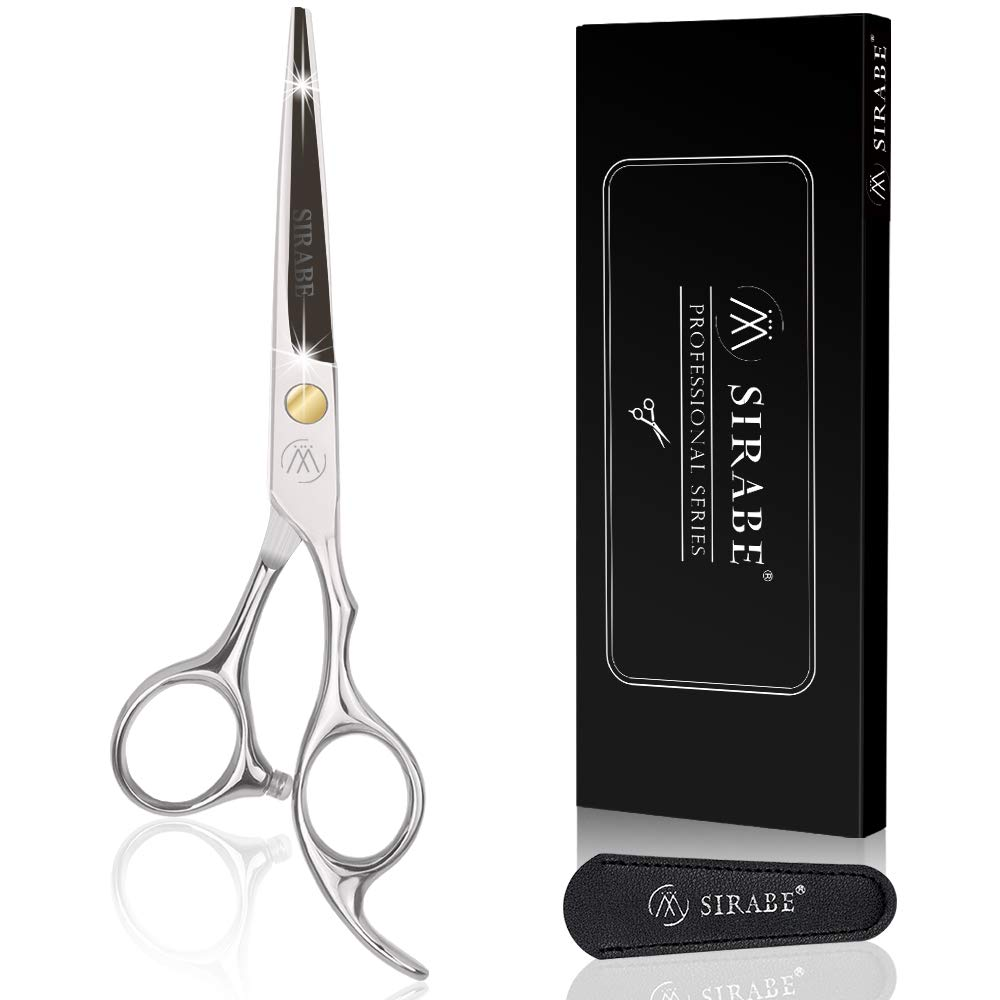"""Sirabe Hair Cutting Scissors Shears - 6.5"""" Professional Razor Edge Haircut Scissor Japanese Stainless Steel Hairdressing Shear for Women Men Barber, Salon, Home, Cowhide Protective Cover Included: Beauty"""