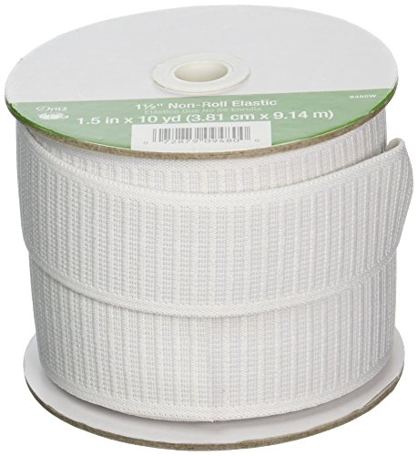 (Dritz 9480W Non-Roll Woven Elastic, White, 1-1/2-Inch by 10-Yard )