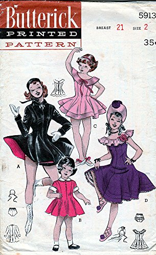 Vintage Butterick Sewing Pattern 5913 c1950's Childs' Dance, Ice Skating, Ballet Costumes, Dress and Hats, Size (Childrens Dance Costumes Patterns)