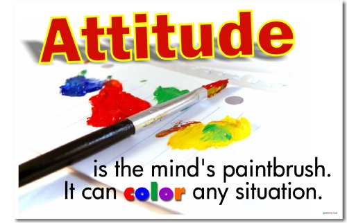 Attitude Is the Mind's Paintbrush. It Can Color Any Situation. Classroom Motivational Poster