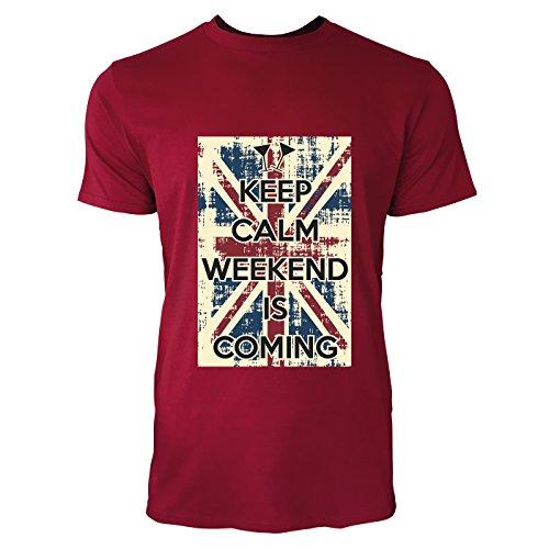 SINUS ART® Keep Calm Weekend Is Coming Herren T-Shirts in Independence Rot Fun Shirt mit tollen Aufdruck