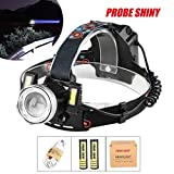 Leegor 15000 Lumens 3 Lights LED Headlamp 4 Modes Rechargeable Headlight Travel Head Torch Adjustable Head Light (Battery Included )