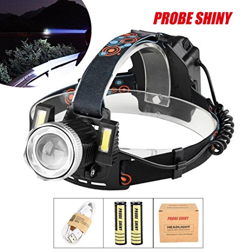 Leegor 15000 Lumens 3 Lights LED Headlamp 4 Modes Rechargeable Headlight Travel Head Torch Adjustable Head Light (Battery Included ) by Leegor