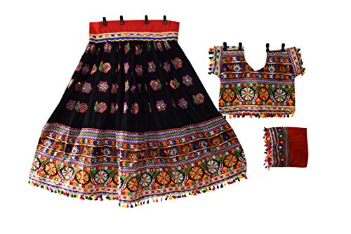 Nanda Women Rayon Indian Embroidered Lehenga Choli-Navratri Special Choli-Boho Hippie Wear Ghagra Choli-Ras Garba Costume Black Free Size ()