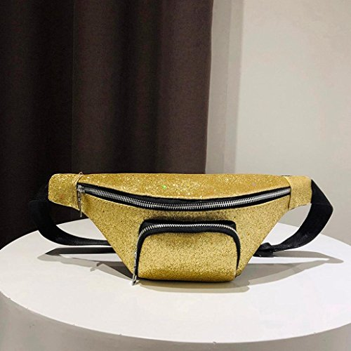 Chest Sequins Winkey Pocket Bag Messenger Bag Shoulder Women Waist Bag Fashion Gold Leather Bumbag Zipper 4gSqd