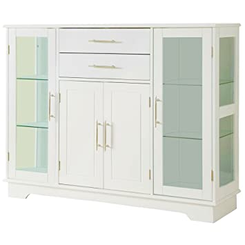 Amazon.com - EFD White Buffet Cabinet with Glass Doors and ...