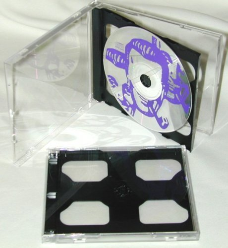 5 Double Slimline CD Jewel Boxes with Dark Grey / Black Pivot Tray #CD2R10DG (HOLDS 2 CDS IN THE SPACE OF ONE STANDARD SIZED JEWEL BOX!) by Square Deal Recordings (Double Side Black Dvd Cases)