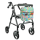 Rollator Bag by Vive - Universal Travel Tote for Carrying Accessories on Wheelchair, Rollator, Rolling Walkers & Transport Chairs - Lightweight Handicap Medical Mobility Aid, Green Paisley