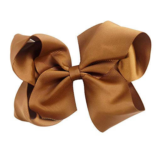 6 Inch 2 Pieces/Set Girls' Grosgrain Rib Hair Bows With Clips Kids' Hairbows Solid Bow Children' Hairclips Handmade Hairbow turftan