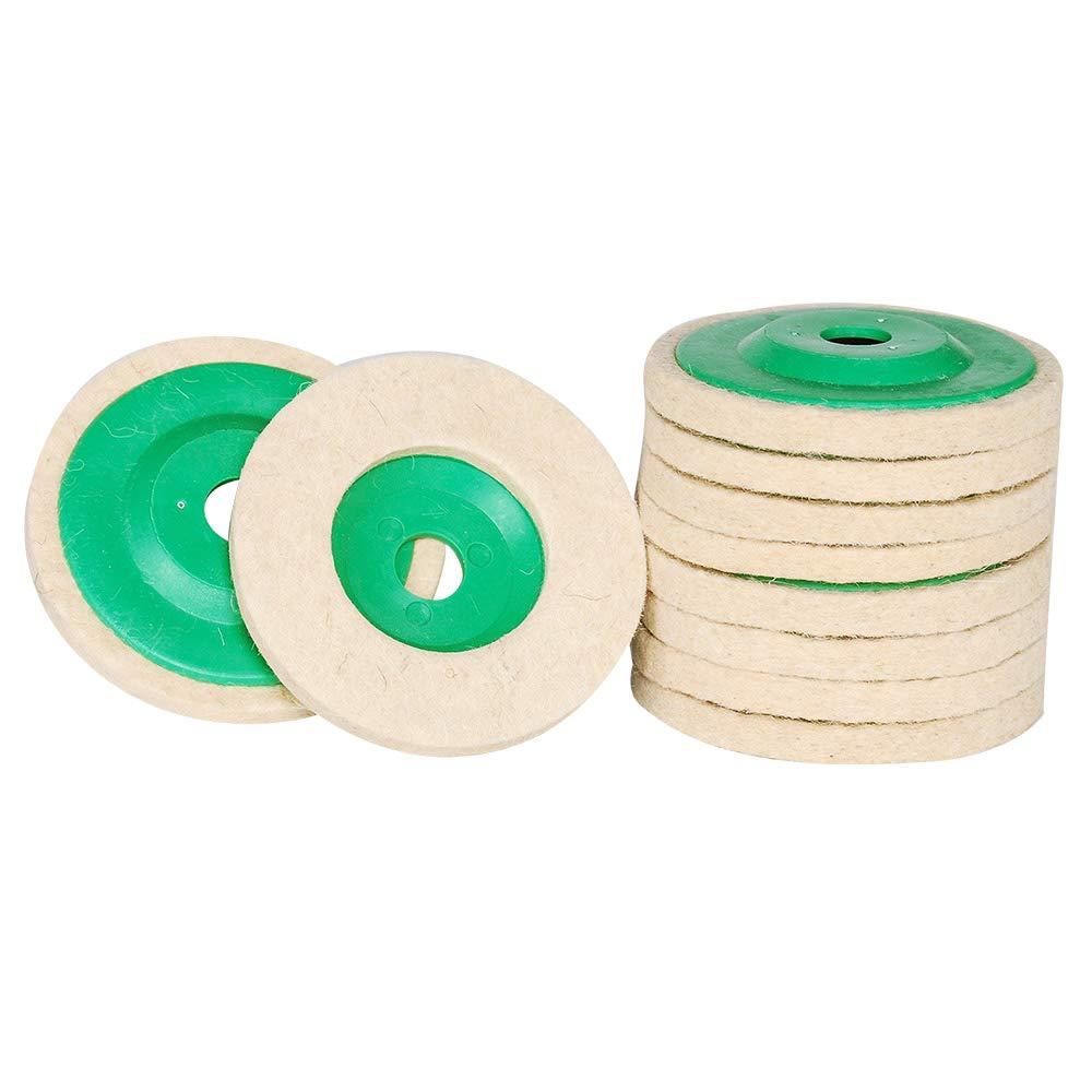 10pcs lana Disco de pulido, 100 mm Rectification de ruedas con 5/8 'cenador para el pulido cristal, cerá mica, plá stico, joyas, metal, má rmol 100mm Rectification de ruedas con 5/8cenador para el pulido cristal cerámica