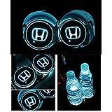 Bearfire Car Logo LED Cup Pad USB Charging Mat Luminescent Cup Pad LED Mat Interior Atmosphere Lamp Decoration Light (Honda)