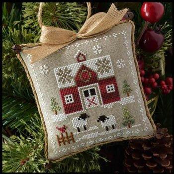 Farmhouse Christmas Little Red Barn Cross Stitch Pattern- Little House Needleworks