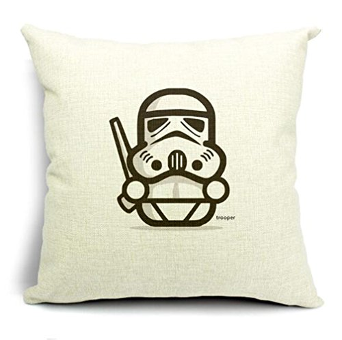 Dececos Cartoon Star Wars Characters Decorative Linen Throw Pillow Cover With troope 18 x 18 Inches