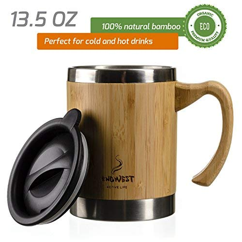 InGwest Active Life. Bamboo Coffee Mug for Man/Woman - 13.5 ounce. Super Light Eco Stainless Steel Coffee\Tea Mug with Lid and Bamboo Handle! Thickened layer of bamboo!