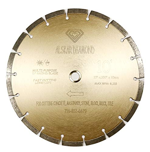 "ALSKAR DIAMOND USA ADLSS 10 inch Dry or Wet Cutting General Purpose Power Saw Segmented Diamond Blades for Concrete Stone Brick Masonry (10"")"
