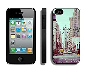 Element Apple Iphone 4s Black Case Durable Soft Silicone TPU Vintage New York City Urban Cell Phone Case Cover for Iphone 4