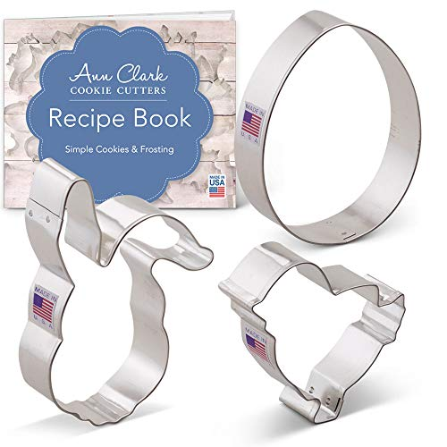 Easter Cookie Cutter Set with Recipe Booklet - 3 piece - Egg, Easter Bunny Face and Chick - Ann Clark - Tin Plated Steel