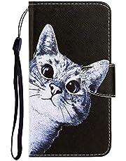NiaCoCo Kompatibel mit iPhone 7/iPhone 8 Handyhülle Flip Cover PU Ledertasche mit Kartenschlitz Brieftasche 3D Relief Schwarze Katze Muster TPU Magnetschnalle Schutzholster