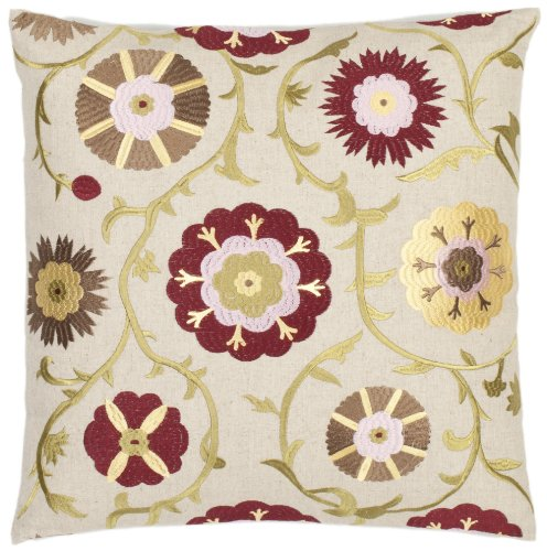 Safavieh Pillow Collection Flower Bed 18-Inch Cream and Red Embroidered Decorative Pillows, Set of 2