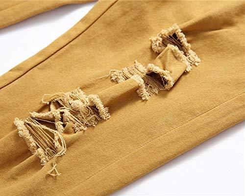 Estilo Fit Caqui Biker Vaqueros Denim Diseño Slim Hombre Pantalones de qnxYUavB