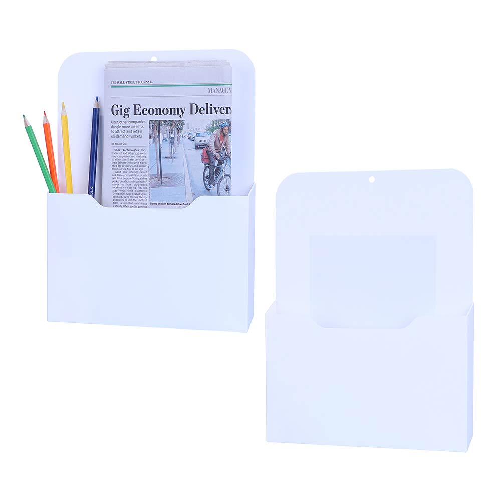 Antner 2 Pack Magnetic File Holder Letter Size Magnetic Wall File Organizer Office Supplies Mail Planners Case, White
