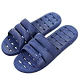 Shower Sandal Slippers with Drainage Holes Quick Drying Bathroom Slippers Gym Slippers Soft Sole Open Toe House Slippers for Men and Women,Dark Blue,44.45