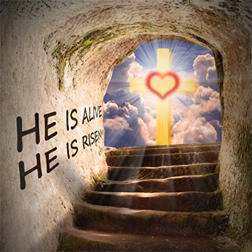 Leyiyi 10x10ft Cross by Jesus Christ Tomb Backdrop Merry Christmas Revive He is Risen Cloudy Sky Sunlight Grunge Stone Grave Rocks Stairs Photography Background Happy New Year Photo Studio Vinyl Prop