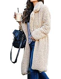 Women's Fuzzy Fleece Lapel Open Front Long Cardigan Coat...