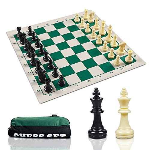 KTYY Travel Chess Set-Chess Pieces and Green Roll-up Vinyl Chess Board, Travel Canvas Chess Bag - Best Choice Tournamet Travel ()