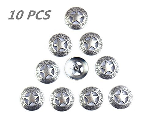 Lemo10pcs Western Texas Star Saddle Conchos TO190